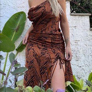 Zebra print mid dress